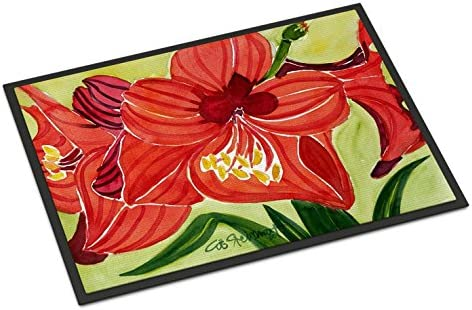 Caroline s Treasures 6055JMAT Flower – Amaryllis Indoor or Outdoor Mat 24×36 Doormat, 24H X 36W, Multicolor