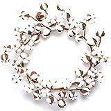 Farmhouse Cotton Wreath for Front Door, 18-24 inch Decor Wall Hanger w/Adjustable Stems (50 Cotton bolls)