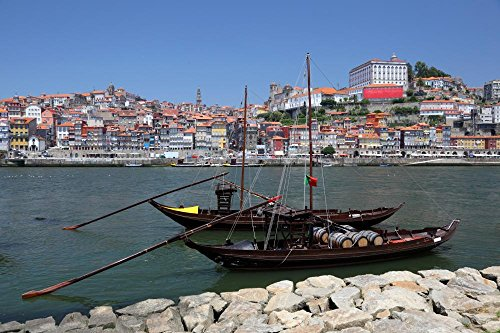 Wallmonkeys FOT-24200522-30 WM71486 Traditional Boats at Douro River in Porto Peel and Stick Wall Decals (30 in W x 20 in H), Medium-Large ()
