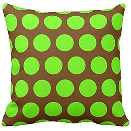 Stupendous Amazon Com Egde4 Brown And Lime Green Polka Dots Throw Machost Co Dining Chair Design Ideas Machostcouk