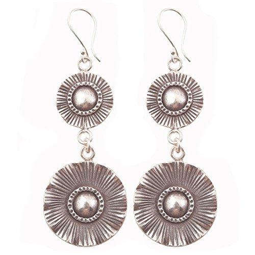 Dangle Charm Thai Flower Earrings 98-99% Silver Karen Hill Tribe