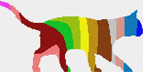 pepita Cat Palette Silhouette Needlepoint Canvas
