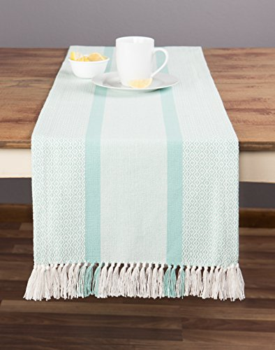 Sticky Toffee Cotton Woven Table Runner with Fringe, Traditional Diamond Aqua, 14 in x 72 in