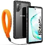 Galaxy Note 10 Plus Waterproof Case, Inkolelo Built-in Screen Full-Body Protector with Floating Strap IP68 Waterproof Case for Galaxy Note 10 Plus 5G Case (2019) - Matte Black/Orange