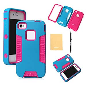 VKING(TM) Robot Series Hybrid Case for Apple iPhone 4 4S 4G,With Screen Protector,Stylus and Cleaning Cloth Blue Pink EK