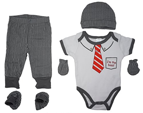 Layette Infant (I'm The Boss | 5-Piece Baby Layette Gift Set: Bodysuit,Pants,Cap,Booties & Mitts(Pinstripe & Tie))