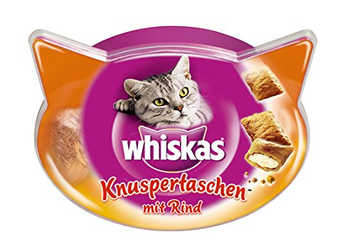 Whiskas Knuspertaschen Katzensnacks Rind, 8 Packungen (8 x 60 g)