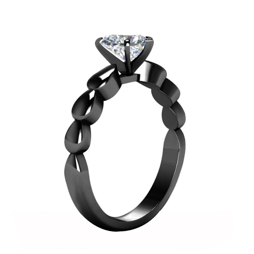 HUAMING Women Ring Love Heart Zircon Ring Fashion Black Retro Color Lovers Ring Gold Gun Ring Wedding Gift Valentine's Day (Black, 8)