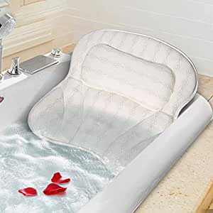 Mr. Bathif Bath Pillow Thicken Bathtub Pillow for Tub, 6 Powerful Suction Cups and 3D Air Mesh Breathable Spa Bath Pillows for Women & Men, Bath Tub Pillows Headrest for Neck, Shoulder