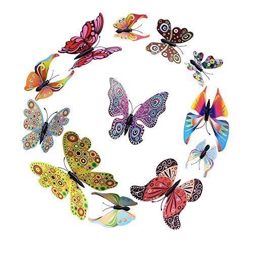 ❤️Jonerytime❤️12 Pcs 3D Multicolor Butterfly Sticker Art Wall Decal Mural Home Decoration Black