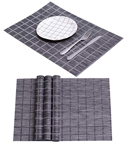 (Perfect Simple Spring Summer Dining Table Mat Kitchen Woven Rectangular Placemats Plate Non Slip Washable PVC Wine Food Placemat Folding Mat Reusable Hard Modern Water Heat Resistant (Board Black x 4))