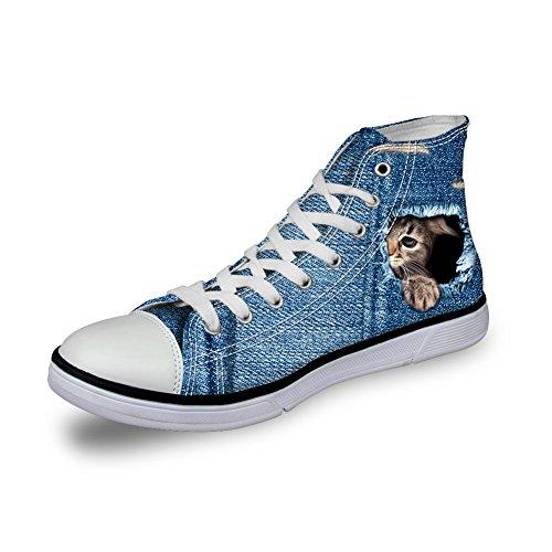 För U Designar Söt Hund Och Katt Print Kängor Kvinna Man Personlig Duk Mode Sneakers Snörning Söt Katt 2