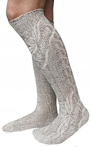 Herren Trachtensocken, Kniebund Socken, Strümpfe für Ihre Lederhose, 1 Paar, Beige/meliert (43-45)