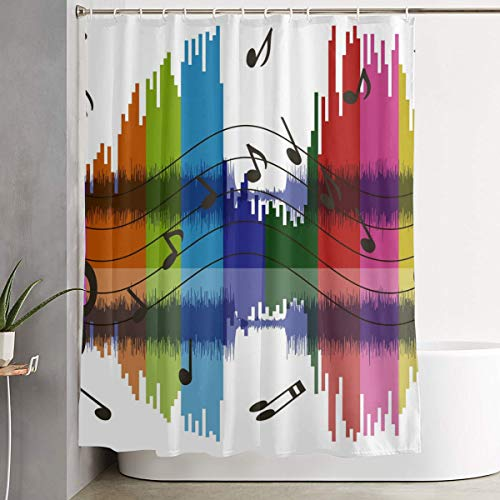 NiYoung Water Repellent Polyester Shower Curtain Included 12 Hooks - Extra Wide - Rainbow Music Notes White Spa Curtain Bathroom Accessories
