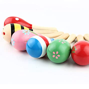 3Pcs Wooden Maraca Rattles Musical Baby Children Shaker Baby Development Toy