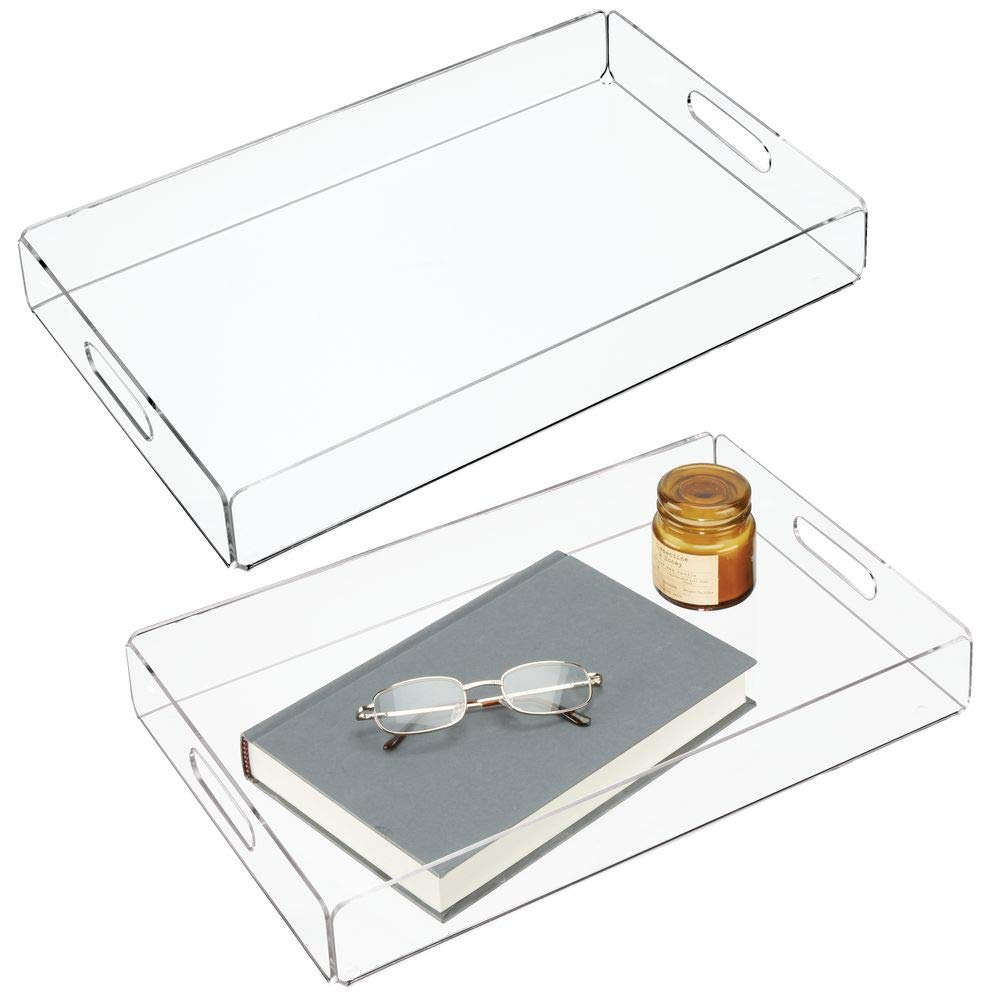 Small Serving Platter with Integrated Handles Snacks and More Clear mDesign Set of 2 Serving Tray Cheese Stylish Tea Tray for Serving Breakfast
