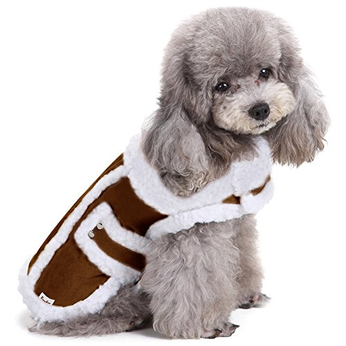 EocuSun Small Dog Winter Coat Shearling Fleece Pet Dog Cat Warm Jacket Vest Clothes Apparel with Furry Collar Cold Weather Coats for Small Medium Dogs Cats Puppy by, Brown - Winter Clothing Dog