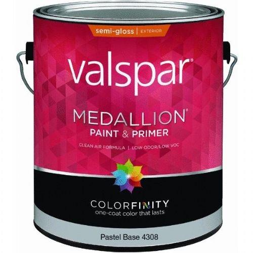 (Valspar Paint 4308 1 Gallon, Pastel Base Medallion Exterior Semi-Gloss Latex House & Trim Paint)