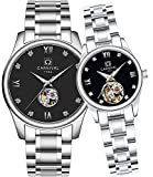 CARNIVAL His or Hers Automatic Mechanical Couple Watch Men and Women Gift Set of 2 (Black)