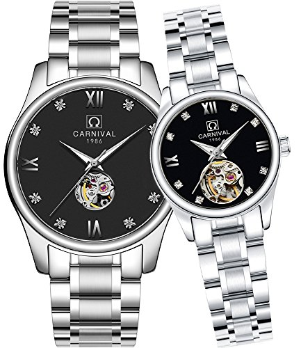 CARNIVAL His or Hers Automatic Mechanical Couple Watch Men and Women Gift Set of 2 (Black) by Carnival