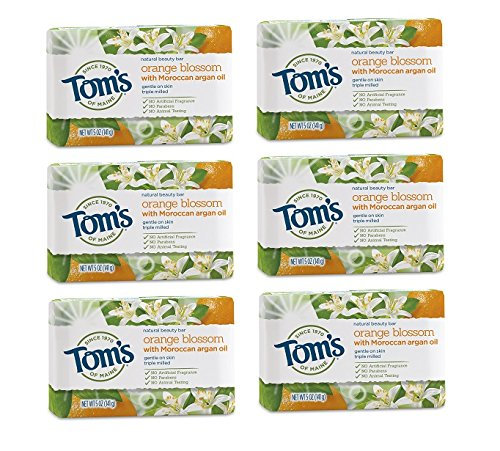 Tom's of Maine Natural Beauty Bar Soap With Moroccan Argan Oil, Orange Blossom Beauty Bar, 5 Ounce, 6 Count