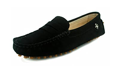 f173d97074a MINITOO Girls Ladies Casual Black Suede Leather Driving Outdoor Boat Shoes  Loafers Moccasins UK 3