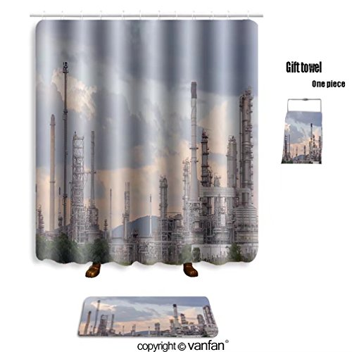 vanfan bath sets with Polyester rugs and shower curtain oil refinery factory station petroleum petroc shower curtains sets bathroom 36 x 72 inches&23.6 x 15.7 inches(Free 1 towel and 12 (Interlocking Rings Stations)