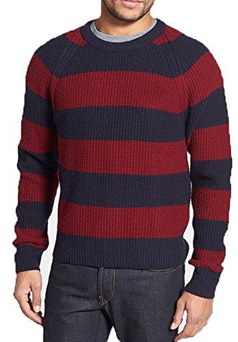 100% Baby Alpaca Sweater, Blue red Stripes, Silkiness, XXXL