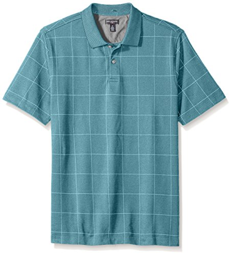 (Van Heusen Men's Printed Short Sleeve Windowpane Polo Shirt, Blue Jade,)