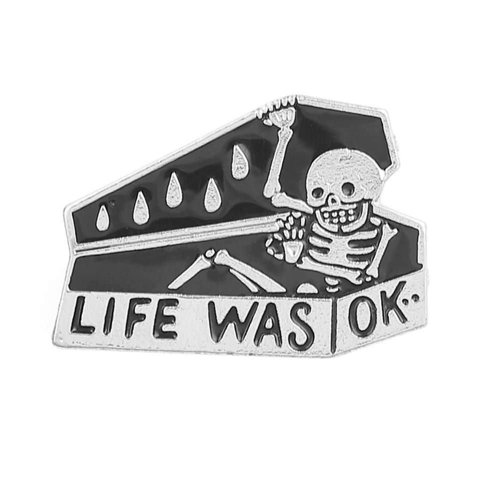 ink2055 Vintage Coffin Skeleton Pattern Life was OK Letters Enamel Badge Brooch Pin Badge for Sweater T-Shirt Dress Bags - Silver