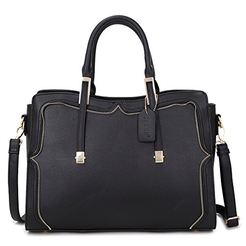 Top Handle Handbag Zip Purse Fashion Shoulder Bag Structured Crossbody Satchel Vegan Leather ()