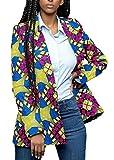 Alion Women's Dashiki Africa Print One Button Slim Fit Blazer Jacket 4 S