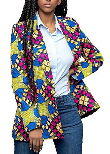 Alion Women's Dashiki Africa Print One Button Slim Fit Blazer Jacket 4 S by Alion