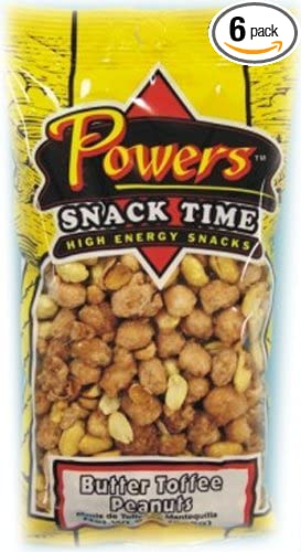 Powers Butter Toffee Peanut, 9-Ounce (Pack of 6)