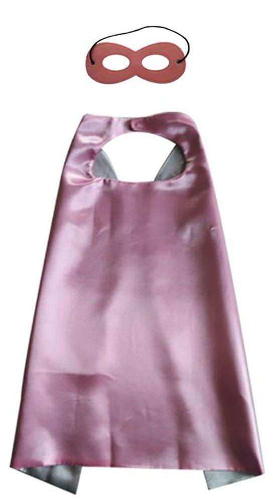 Ababalaya DIY Dress up Costumes Superhero Satin Cape Cloak with Mask Set for Kids 3-6T,Pink Silver