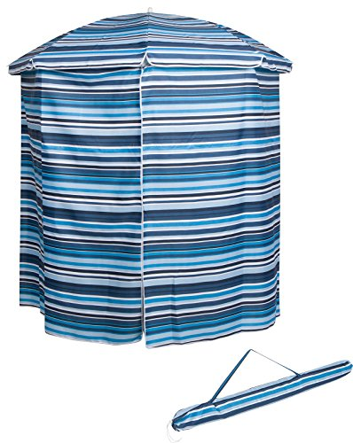 Trademark Innovations 6.5' Portable Pool & Beach Cabana Sun Shelter with 50+ UV Protection and Carry Bag (Blue Stripe, Single Set)