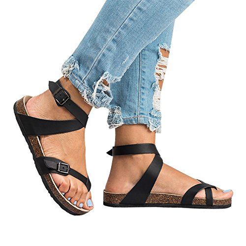 Strappy Women Toe Sandals Black2 Ankle Casual Leather Flat Buckle Shoes Sandals Clip Strap Thong ThusFar TwxaA0qda