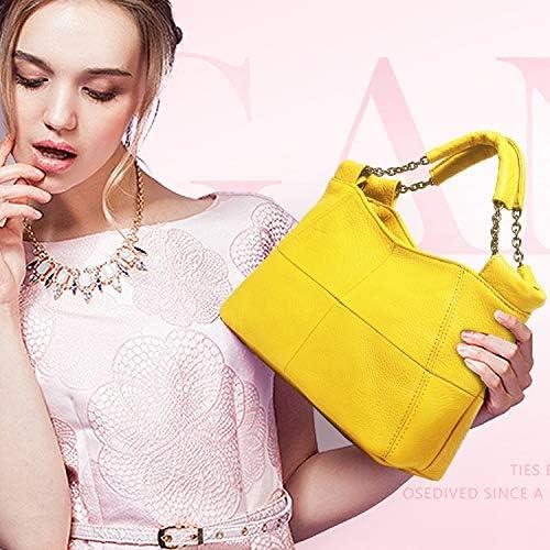 azalea store 2019 Sommer-Mode-Handtasche der Dame-Chain Weiche echte Leder-Tragetaschen, Gelb, über 26cm 12cm19cm