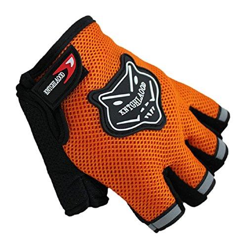 Summer Bike Half Short Cycling Finger Gloves Orange - 3