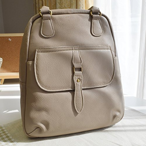 Genova Leather - Rucksack. Genuine Cow Leather . TAUPE . Backpack for Women & Girls . Made in Japan