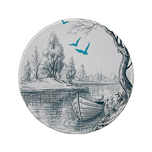 Non-Slip Rubber Round Mouse Pad,Lake House Decor,Boat on Calm River Trees Birds Twigs Sketch Drawing Clipart Water Minimalistic,White Gray Blue,7.87