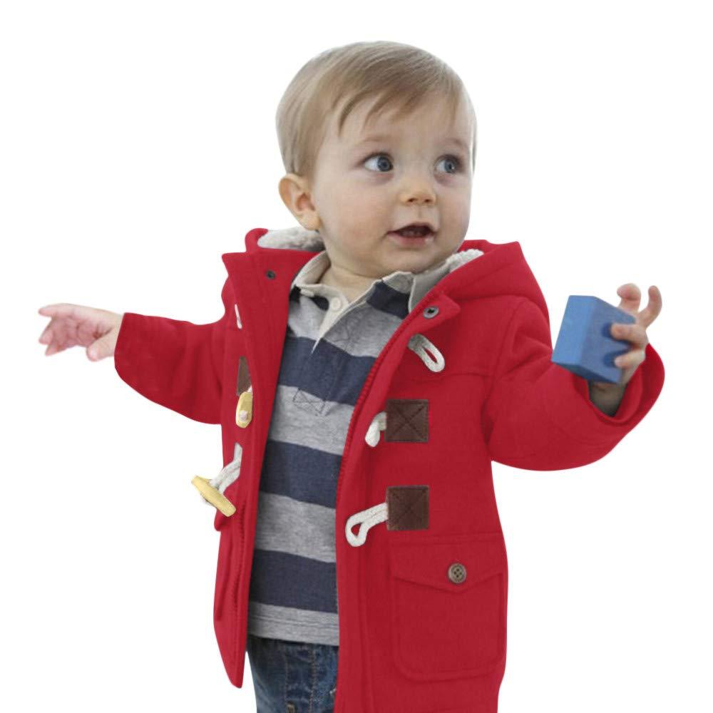 c0cc442b5 WARMSHOP Winderproof Coat Boys Girls 0-5T, Kids Long Sleeve Warm Winter  Horn Button ...