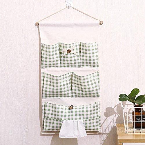 Wall-Mounted Cotton Linen Art Storage Bag Door Rear Storage Bag Multi-Layer Hanging Bag, Green
