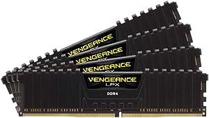 Corsair CMK64GX4M4C3000C15 Vengeance LPX 64 GB (4 x 16 GB) DDR4 3000 MHz C15 XMP 2.0 High Performance Desktop Memory Kit, Black