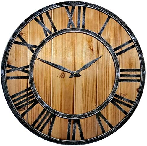 Evursua Large Farmhouse Wall Clocks Metal Frame Natural Wood Art Distressed Old-Fashioned,18 Inch Rustic Wall Decorative Clock