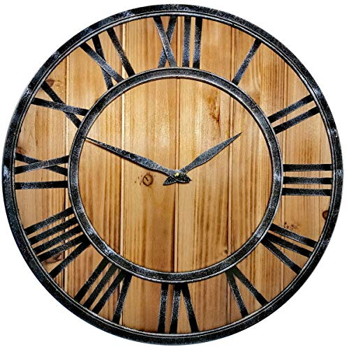 SKJIND Wooden Rustic Noiseless Wall Clock with iron frame (Burlywood, 45cm)