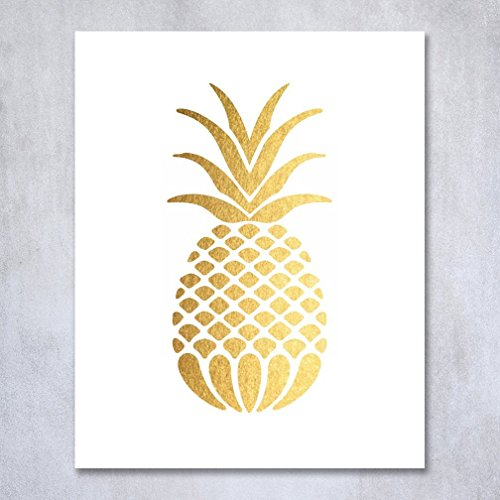 Free Pineapple Gold Foil Art Print Small Poster Tropical Chic Metallic Poster Modern Wall Art Gold Decor 5 inches x 7 inches B18