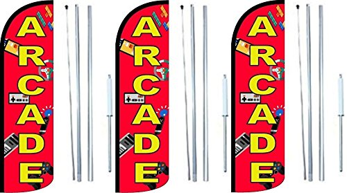 Pack of 3 Arcade King Windless Swooper Feather Flag Sign Kit with Complete Hybrid Pole Set