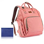 Diaper Bag Waterproof Travel Backpack for Baby Care with Stroller Straps, Changing Pad, Quick Charge USB Port and Card Pockets, Large Capacity, Extra Soft Shoulder Straps, Stylish and Durable (Pink)