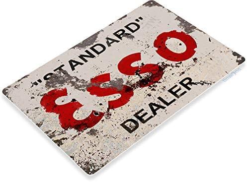 retro wall decor Esso oil gas auto shop garage metal tin sign